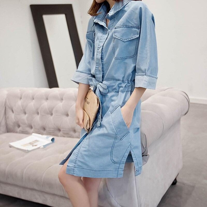 Bas Unique Mode Vers Clair 2018 Robe Printemps Poche L'europe Cowboy Le Dames Été De Nouvelle Tournent Jeans Femmes Fille Mince Poitrine 7XqzPwBxn