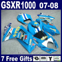 Compression moto fairings For Suzuki GSXR 1000 07 08 blue fairing kit GSXR1000 2007 2008 PG24