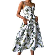 Sexy V Neck Backless Floral Summer Beach Dress Women 2019 White Boho Striped Button Sunflower Daisy Pineapple Party Midi Dresses tanie tanio Kobiet Poliester spandex Seksowny klub Trapezowa Drukowania Bez rękawów Przycisk Połowy łydki Pasek spaghetti Naturalne