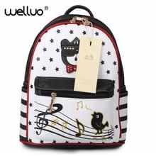 Японский Корейский PU кожа Обувь для девочек Рюкзаки кот Милый Элегантный дизайн школьная сумка музыкальная нота птица рюкзак mjuer XA207B