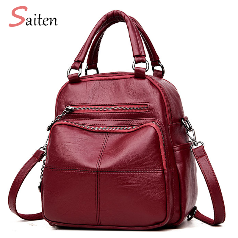 SAITEN Woman Backpack Leather Female Schoolbag