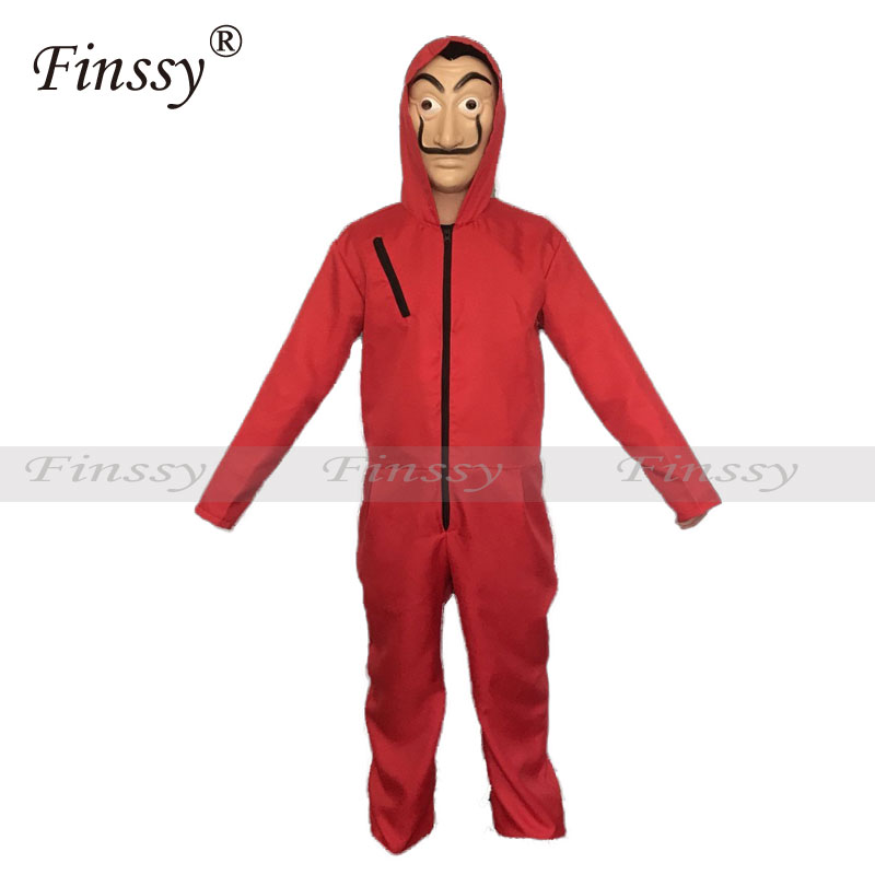 Red Long-sleeved Jumpsuit La Casa De Papel Salvador Dali Cosplay Costume Halloween Stage Show Funny Clothes with Mask
