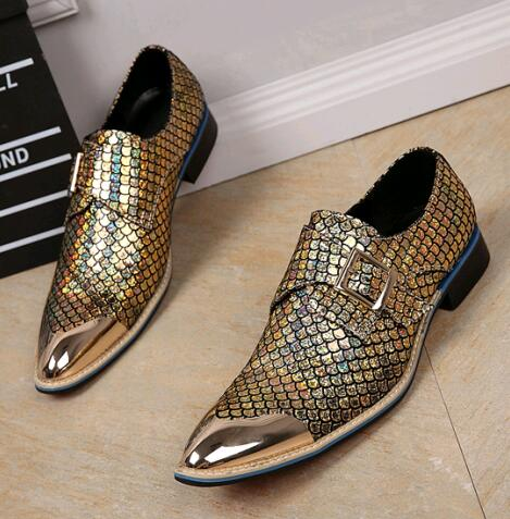 Zobairou Metallic Men Wedding Shoes Genuine Leather Mens Gold Dress Pointed Toe S Oxford In Formal From On Aliexpress