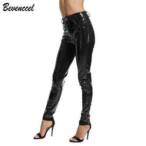 Image 2 - BEVENCCEL חורף מכנסיים עור מפוצל מכנסיים נשים סקסי לטקס מכנסיים נשים Streetwear עם כותנה נשים מכנסיים
