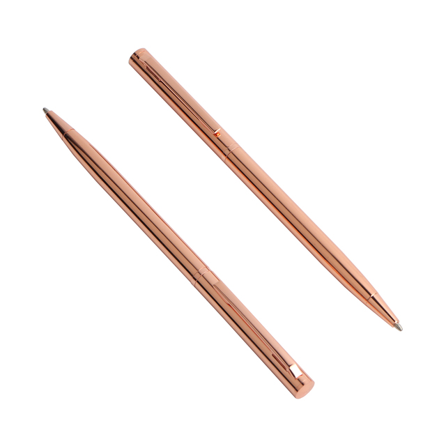2PCS Rose Gold Ball-point Pen Metal Material Promotional Pen Stainless Steel Rod Rotating Metal Ball Pens For School Stationery 2