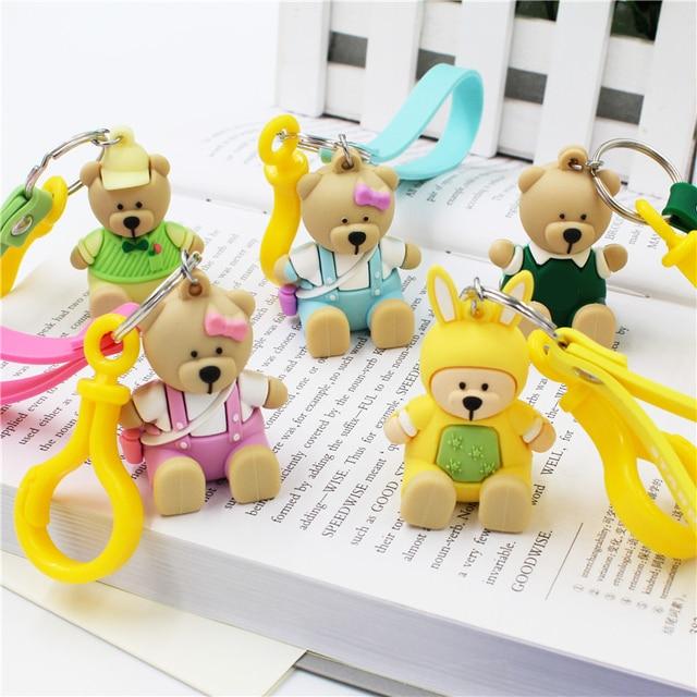 Car Cute Keychain Bear New Styling Cartoon Anime Key Holder Silicone Soft  Lovers KeyRing Women Bag Pendant Doll Christmas Gift 4fdb634fa7