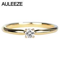 AULEEZE Solitaire Real Diamond Engagement Ring Solid 18K Yellow Gold Jewelry 0.12ct Round Shape Natural Diamond Rings For Women