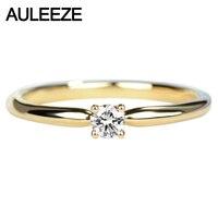 Auleeze Solitaire настоящий бриллиант Обручение кольцо SOLID 18 К Желтое золото ювелирные изделия 0.12ct круглый Форма натуральный Кольца с алмазами для