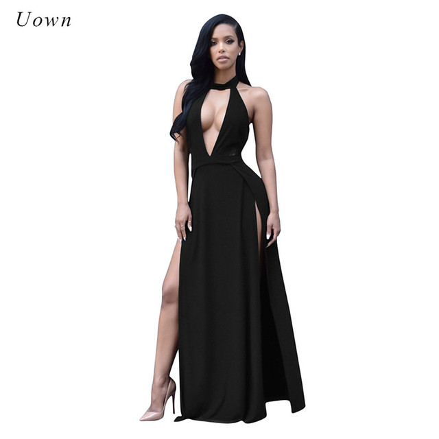 a4aead8d677 2018 Women Summer Sexy Maxi Dress Off the Shoulder High Split Halter Long  Dress Plus Size Deep V Neck Black Backless Boho Dress