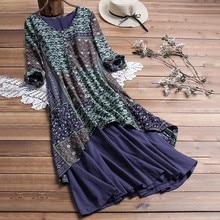 Feitong/женское платье в винтажном стиле с цветочным принтом и круглым вырезом, платье в стиле пэчворк, Vestidos De Verano, свободное летнее платье с длинным рукавом размера плюс
