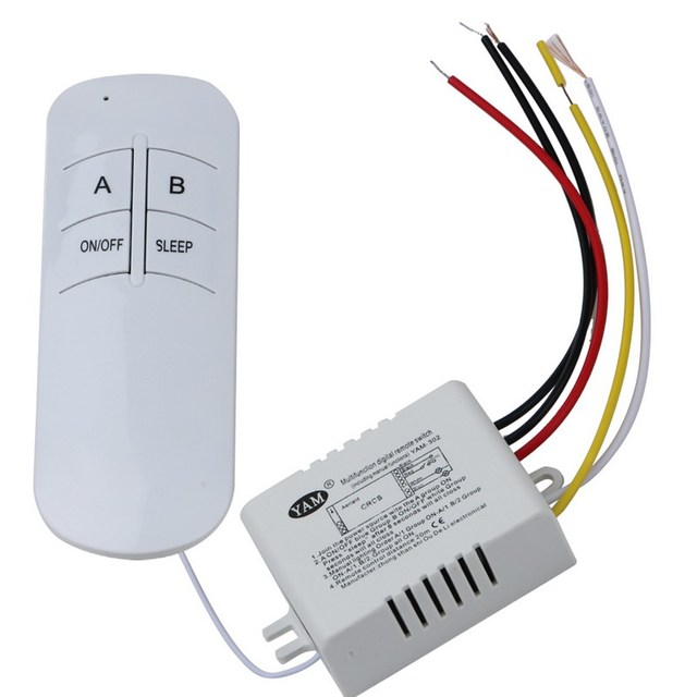 Wireless 2 Ways ON/OFF 220V Lamp Remote Control Switch Receiver ...