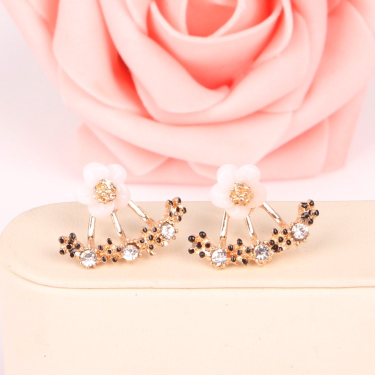 The New Flower Crystals Stud Earring For Women Rose Gold Color Double Sided Fashion Jewelry Earrings Female Ear Brincos Pending(China)