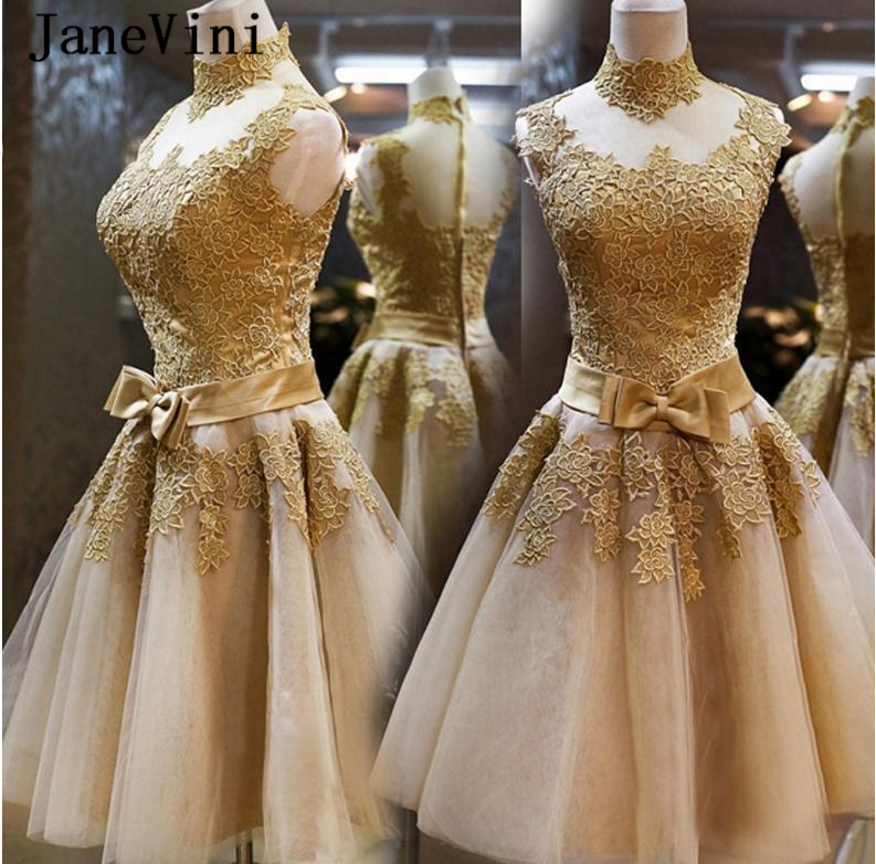 JaneVini Charming Tulle Short Bridesmaid Dresses Plus Size A Line High Neck Gold Lace Appliques Sheer Back Maid Of Honor Gowns statue
