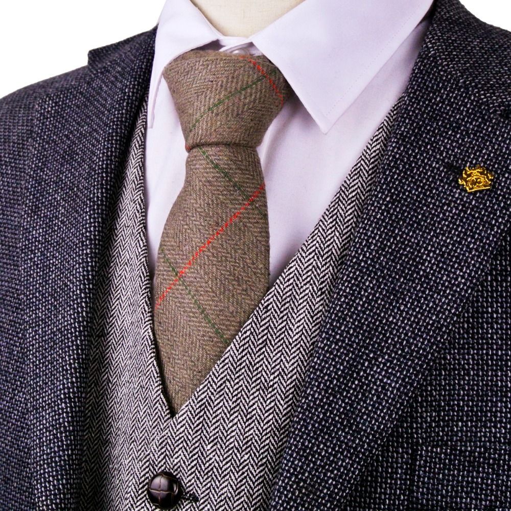 G81 Brown Camel Herringbone Tweed Checked 7cm Mens Ties Neckties Wool Dress Vests Free Shipping Gilet Suit Waistcoat Wholesale