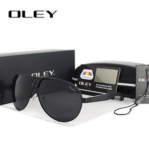 Мужские Круглые Солнцезащитные очки OLEY, большие поляризационные очки в стиле ретро, очки для вождения в большой оправе, очки для мужчин