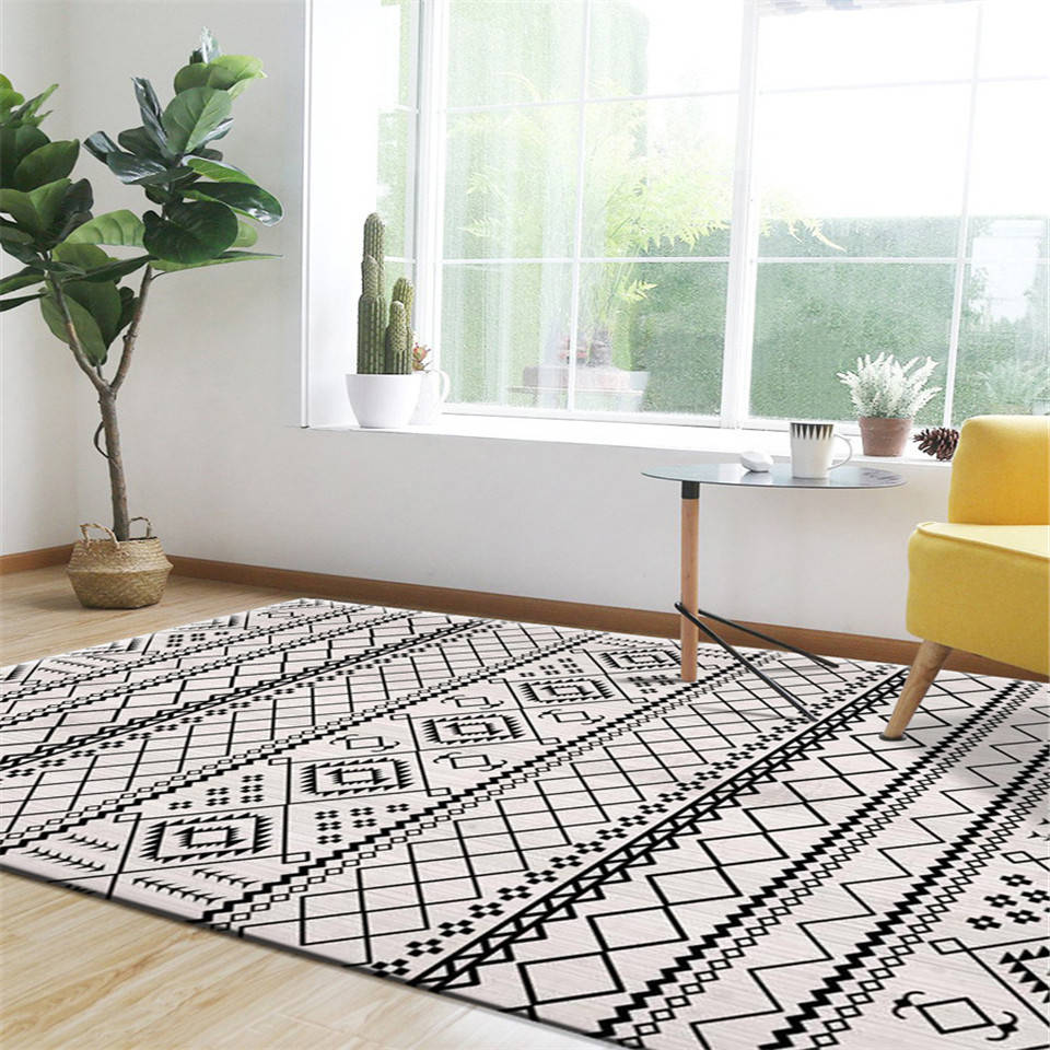 Carpet Nordic Black And White Line Bedroom Decor Carpets Geometric Color Living Room Rug National Style Mats Rectangle Carpets