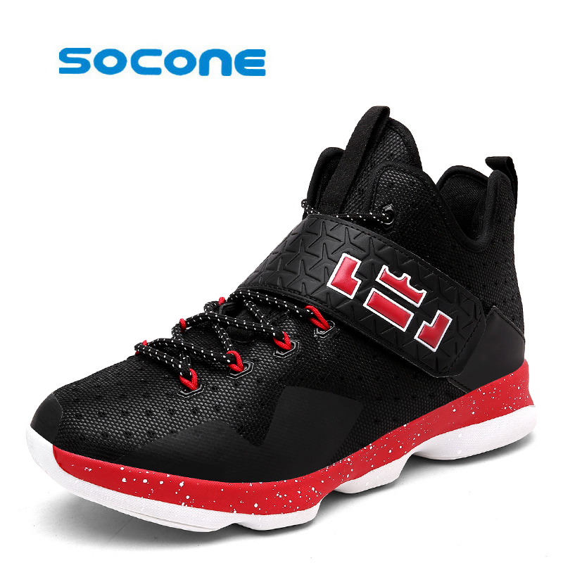 Socone Newest Men Basketball Shoes 2017 Male Ankle Boots Anti-slip outdoor Sport Sneakers Plus Size