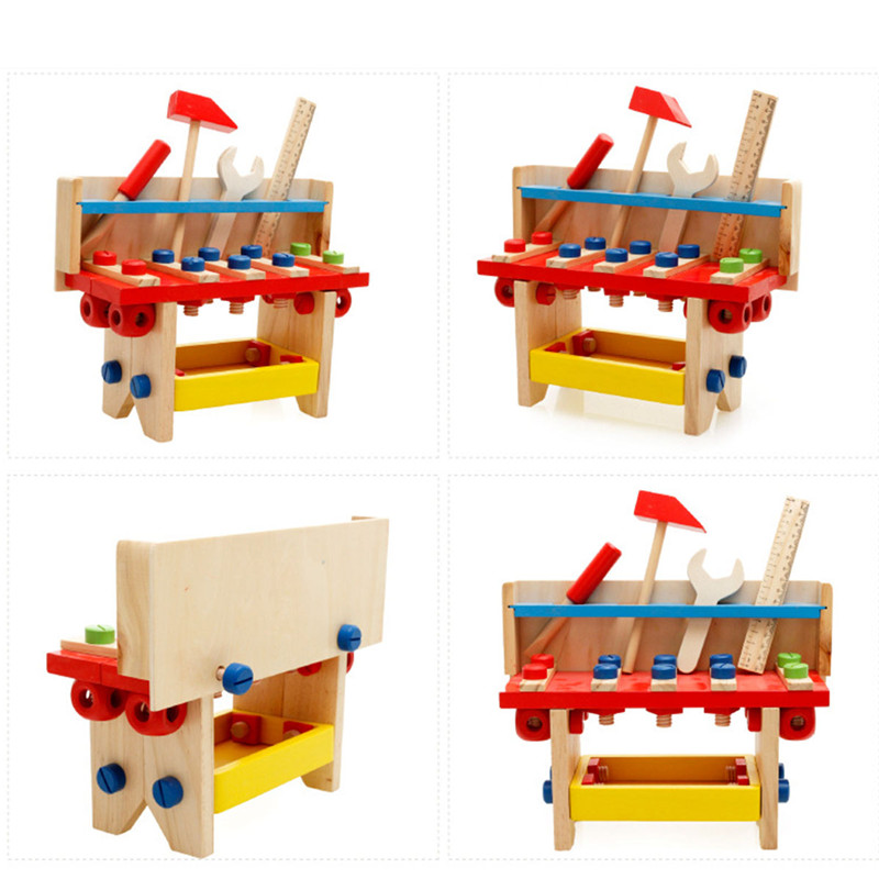 1 PC Colorful Baby Wooden Tools Toys Children Funny Preschool Early Learning Educational Kids Toys Boys Children's Wood Tool new children kids puzzle learning developmental versatile flap abacus wooden toys wood educational learning cock tool fci