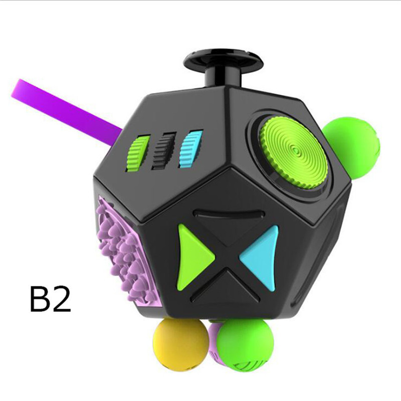 Fidget Cube Toys 12 Sides Fidget Toys Anti Stress Puzzle Cube Figet Toys Squeeze Fun Stress Reliever Toys