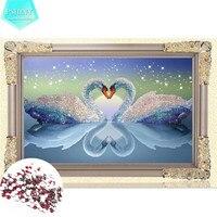 5D DIY Diamond Painting Kits Round Rhinestone Draw Diamond Embroidery Animals Swan Cross Stitch Kit Mosaic