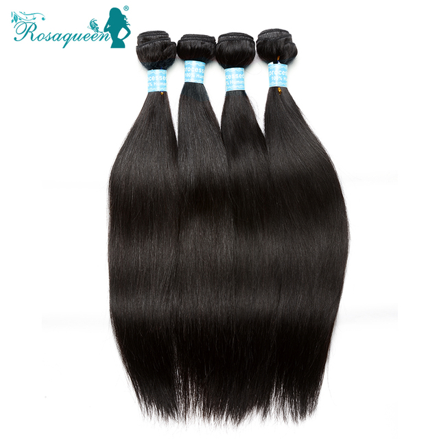 Rosa Queen Hair Products 6A Malaysian Virgin Hair Straight Human Hair Extensions  4Pcs/Lot Malaysian Straight Hair Natural Black