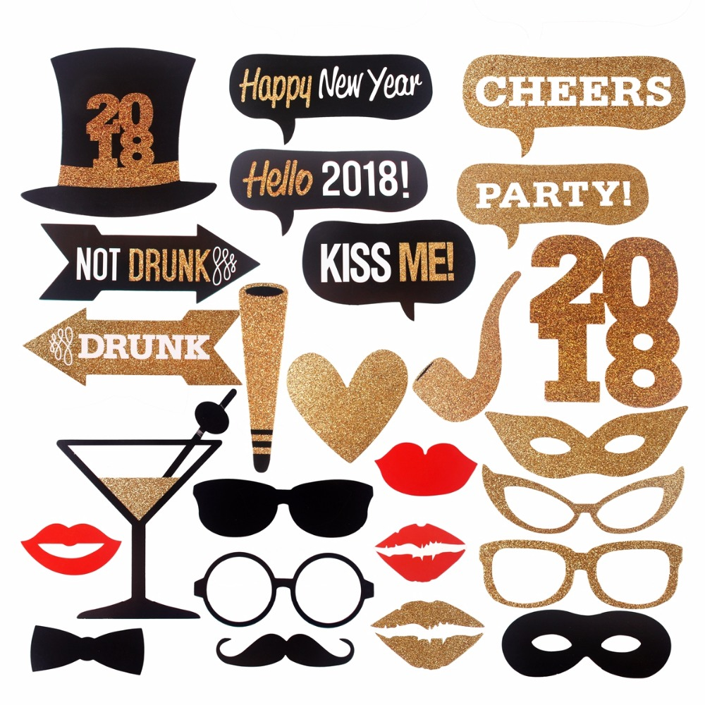 fengrise happy new year 2018 photobooth props diy photo props funny hat mustache party merry christmas decor new year party in pendant drop ornaments from