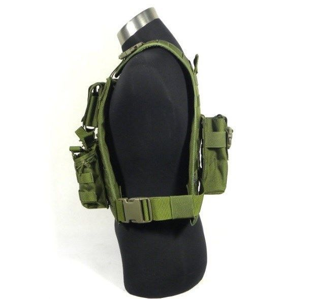 military tactical vest molle 1000D CORDURA <font><b>MBSS</b></font> style Plate Carrier w/ 7 pouches (OD) sports vest image