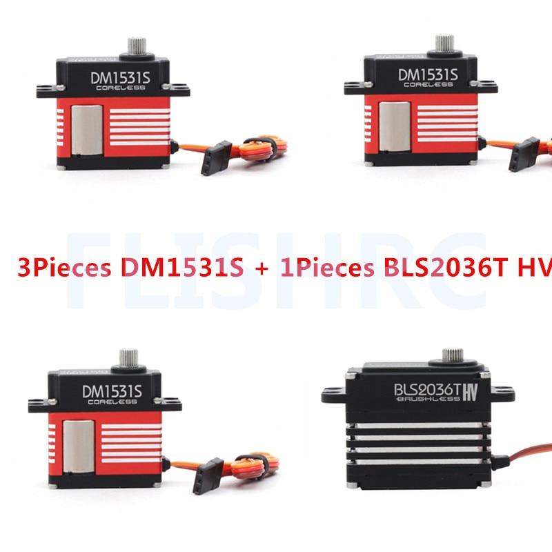 3 pièces DM1531S Servo & 1 Pièce BLS2036T Servo ALZRC 505 Pièces D'hélicoptère Métal Numérique Servo