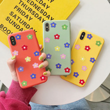 Silicone phone case for apple iphone X XR XS Max Cute Color Flowers Soft TPU For 6 6s 7 8 plus back cover