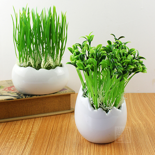new arrival white shell style small ceramic flower pot artificial