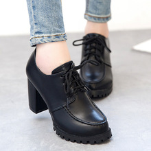 New women's pumps low top ankle boots lace up thick high heels shoes for woman casual ladies red black pumps for office WSH258