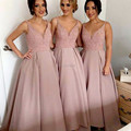 Sexy Fashion V Neck Satin Sleeveless Long Bridesmaid Dresses 2017 With Beading Off The Shoulder Bridesmaid Dress SML112302