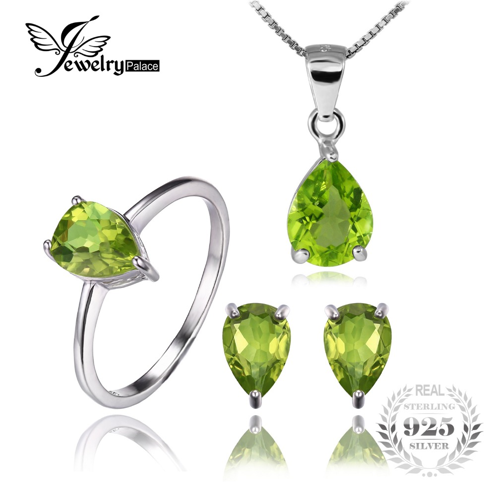 Jewelrypalace Round 5ct Natural Gemstone Peridot Ring Earring Pendant  Necklace Fine Jewelry Sets Pure 925 Sterling