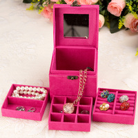 Fashion New Quality Velvet Three Layers Necklace Ring Etc Display Box Makeup Cube Jewelry Organizer Boxes