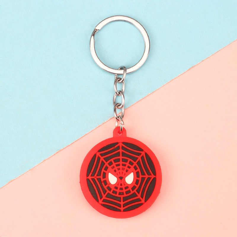 3D การ์ตูนพวงกุญแจ PVC Marvel Avengers พวงกุญแจน่ารัก Superhero Batman Spider Man Key Chain แหวนเด็ก Key Holder Trinket ของขวัญ