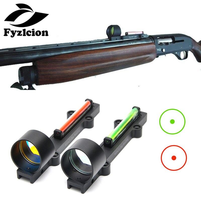 Caça escopos de fibra leve vista 1x28 red dot sight scope vermelho e verde fiber fit espingardas rib ferroviário caça tiro