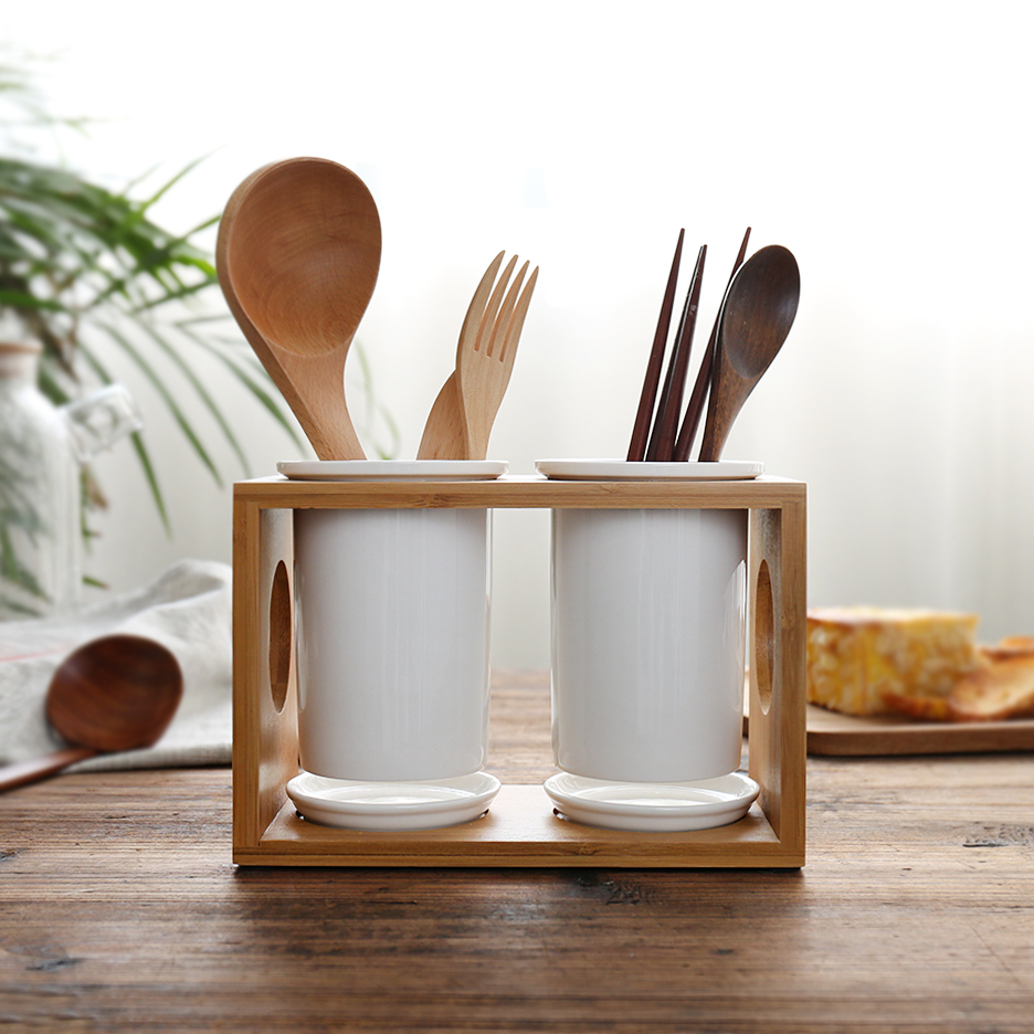 Originality Bamboo Wood Ceramic Tableware Storage Rack Kitchen Fork ...