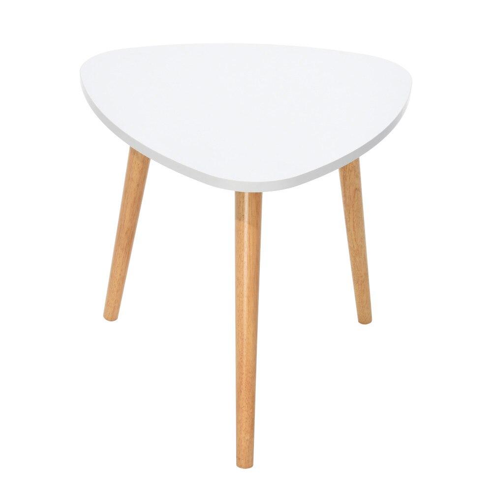 Table basse moderne minimaliste nordique 50 × 48 cm/19.68 × 18.89 pouces Table basse blanche en bois jambe canapé meubles latéraux mesa de centro