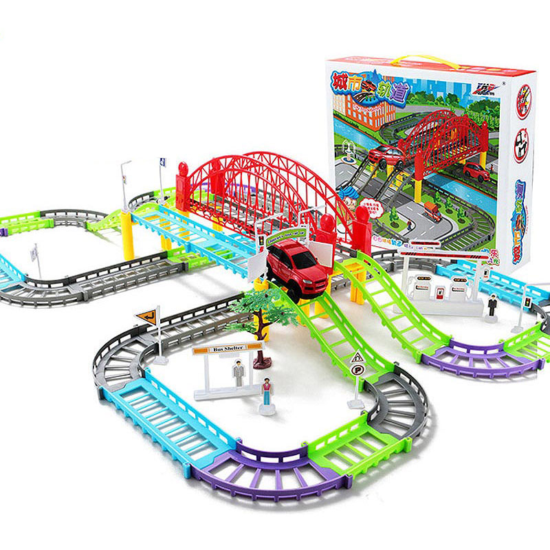 Hot 68pcs Electric Railcar Set Model Diecast Vehicles Assembly DIY Railway Train Track Racing Thomas Boys Toy For Children Cars
