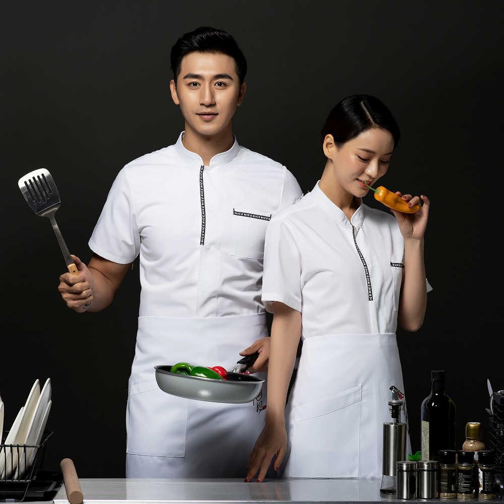 Mężczyźni kobiety jednolite koszula szefa gotować sushi ciasto kluski pyszne jedzenie bar Hotel kuchnia kawiarnia piekarnia lato odzież robocza