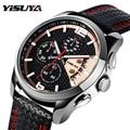 Luxury Brand YISUYA Mens Sport Quartz Watches Date Chronograph Leather Band Wrist Watch Military relogio masculino