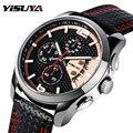 Marca de luxo YISUYA Data Chronograph Pulseira de Couro Do Esporte Dos Homens Relógios de Quartzo Relógio de Pulso Militar relogio masculino
