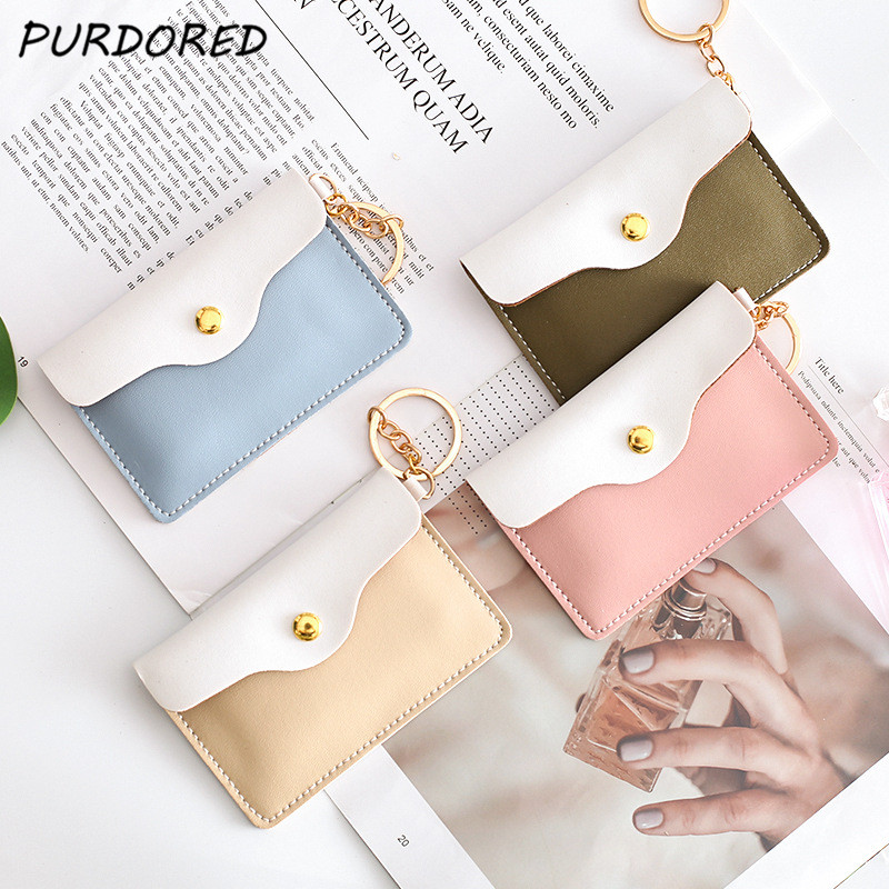 PURDORED 1 Pc Women Card Holder Solid Credit ID Card Holders Business Card Wallet Case Change Coin Purse Keychain Dropshipping