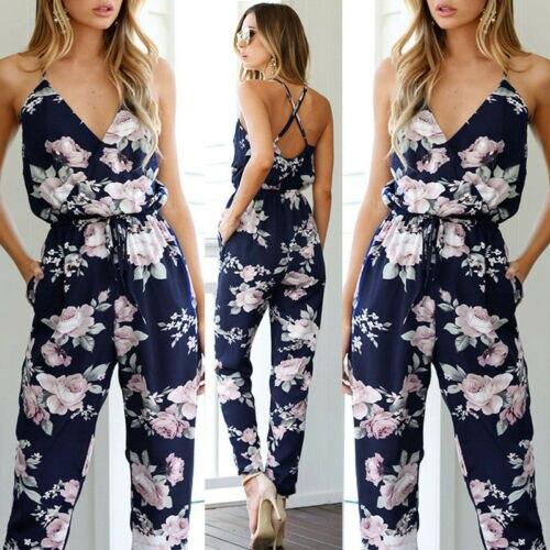 Summer Women Ladies Playsuit Party Jumpsuit V Neck Floral Bandge Romper High Waist Long Trousers Pants Clubwear
