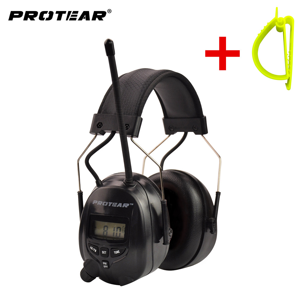 Protear NRR 25dB Electronic Hearing Protector AM FM Radio Earmuffs Electronic Ear Protection Earmuff With Belt Hook Clip