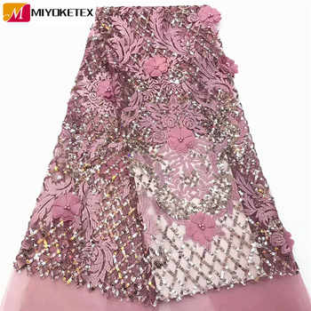 Best Quality Sequins Lace Latest African Lace Fabric 3D Flower Applique Afican French Wedding Lace Fabric For Dress CDA136-1 - DISCOUNT ITEM  48% OFF All Category
