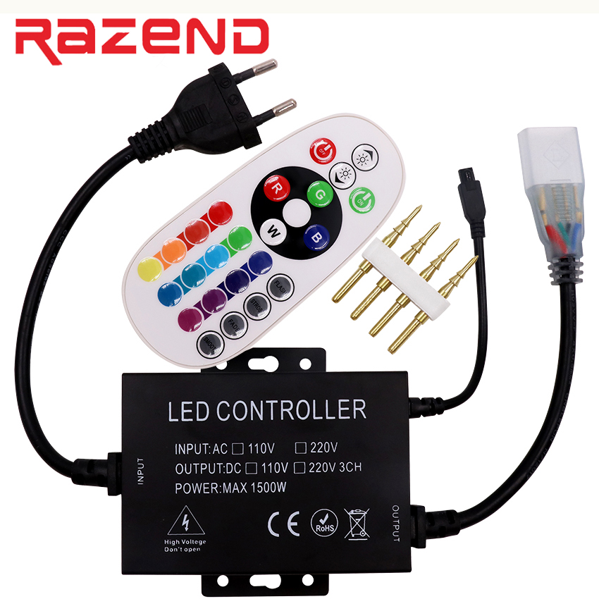 New 220V 110V Led RGB controller dimmer 24 key IR remote 1500W 8mm/10mm/12mm connector US plug / EU plug Free shipping 110v 220v 1500w rgb controller led dimmer 5key rf touch remote control eu plug us plug free shipping