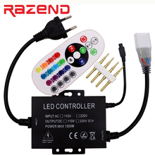 Compare Prices New 220V 110V Led RGB controller dimmer 24 key IR remote 1500W 8mm/10mm/12mm connector US plug / EU plug Free shipping