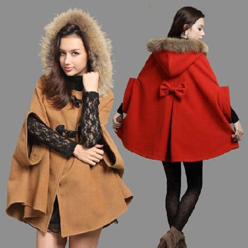 Manteau cape capuche femme hiver