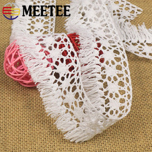Meetee 10yards 35/40/49mm Cotton Fringe Lace Trim Ribbon Webbing Tassel DIY Clothes Curtain Decor Home Textile Craft Accessories